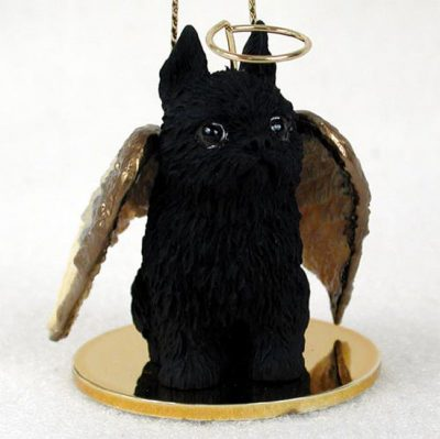 Brussels-Griffon-Dog-Figurine-Angel-Statue-Hand-Painted-Black-400201486925