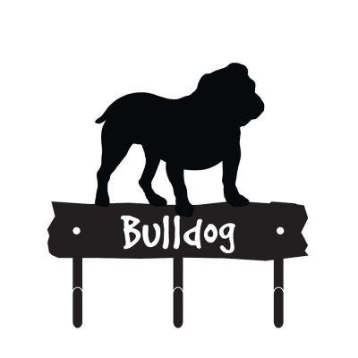 Bulldog-Dog-Breed-Silhouette-Leash-Hook-Holder-Key-Rack-Metal-Figurine-400351221870