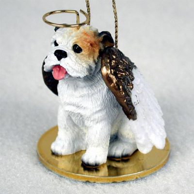 Bulldog-Dog-Figurine-Angel-Statue-Hand-Painted-White-400201486973