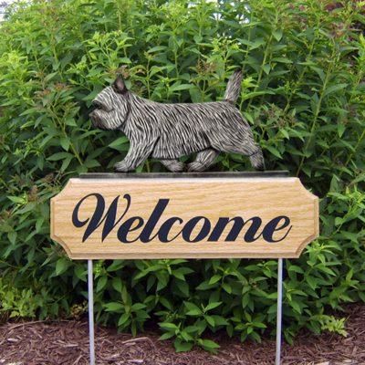Cairn-Terrier-Dog-Breed-Oak-Wood-Welcome-Outdoor-Yard-Sign-Light-Grey-400706788109