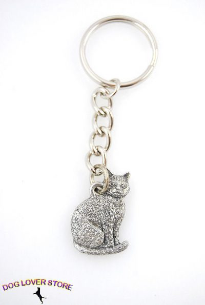 Cat-Sitting-Fine-Pewter-Silver-Keychain-Key-Chain-Ring-181071538008