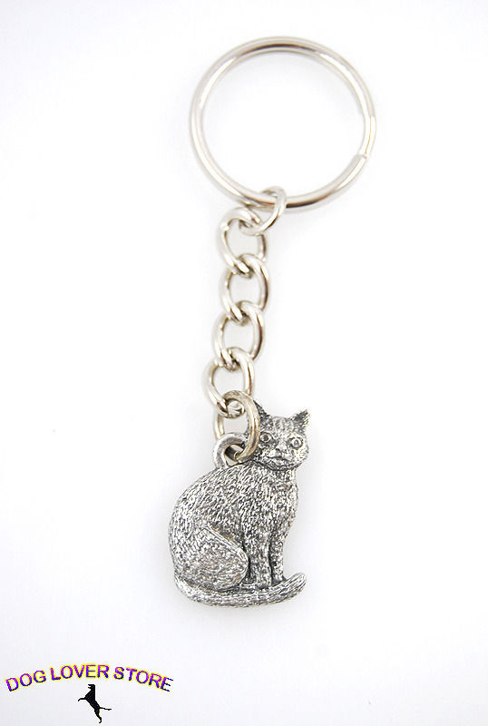 Cow Keychain Silver Pewter Key Chain Ring