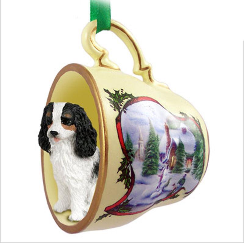 - Cavalier King Charles Christmas Teacup Ornament Blk/Wht
