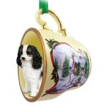 Cavalier-King-Charles-Dog-Christmas-Holiday-Teacup-Sleigh-Ornament-Figurine-Blac-180985881472
