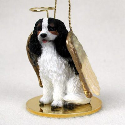 Cavalier-King-Charles-Dog-Figurine-Angel-Statue-Hand-Painted-Black-180637633919