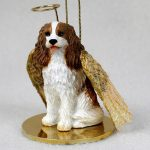 Cavalier-King-Charles-Dog-Figurine-Ornament-Angel-Statue-Hand-Painted-Brown-180772211129