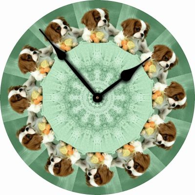 Cavalier-King-Charles-Dog-Wall-Clock-10-Round-Wood-Made-in-USA-400707271799