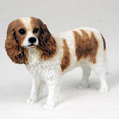 Cavalier-King-Charles-Hand-Painted-Collectible-Dog-Figurine-Brown-White-180741107685
