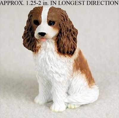 Cavalier-King-Charles-Mini-Resin-Dog-Figurine-Statue-Hand-Painted-BrownWhite-400322897363
