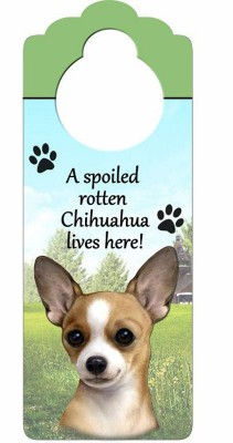 Chihuahua-Dog-Door-Knob-Handle-Hanger-Sign-Spoiled-Rotten-1025-x-4-Tan-400511439687