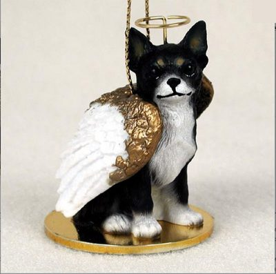 Chihuahua-Dog-Figurine-Ornament-Angel-Statue-Hand-Painted-BlackWhite-400288207834