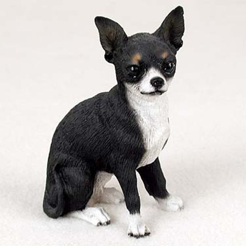 Chihuahua Figurine Hand Painted Collectible Statue Black White