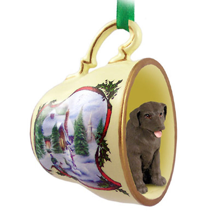 - Chocolate Lab Christmas Teacup Ornament -