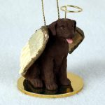 Chocolate-Labrador-Dog-Figurine-Ornament-Angel-Statue-Hand-Painted-181337613159