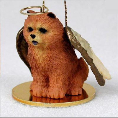 Chow-Chow-Dog-Figurine-Angel-Statue-Hand-Painted-Red-400219963638