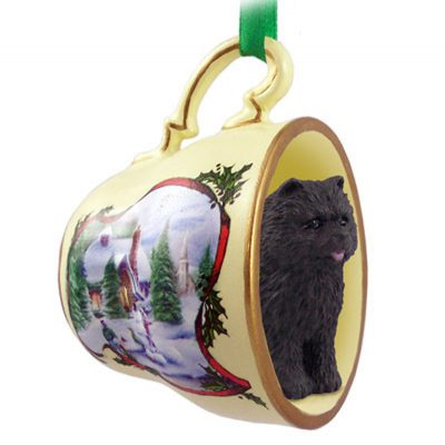 Chow-Dog-Christmas-Holiday-Teacup-Sleigh-Ornament-Figurine-Black-180985883539