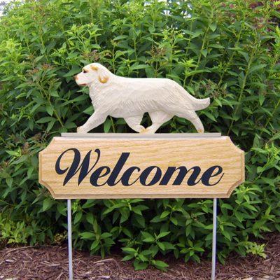 Clumber-Spaniel-Dog-Breed-Oak-Wood-Welcome-Outdoor-Yard-Sign-Orange-181404170088