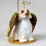 Clumber-Spaniel-Dog-Figurine-Angel-Statue-Hand-Painted-400201487096