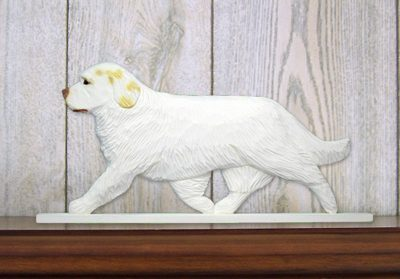 Clumber-Spaniel-Dog-Figurine-Sign-Plaque-Display-Wall-Decoration-Lemon-181430773082