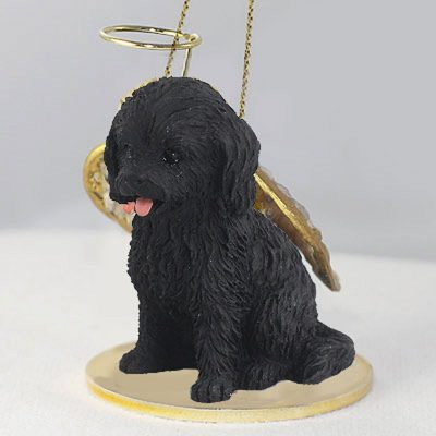 Cockapoo-Dog-Figurine-Angel-Statue-Black-181354146883