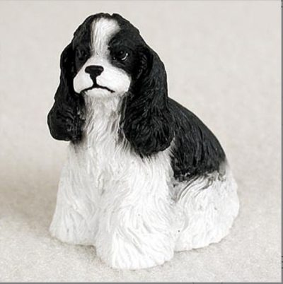 Cocker-Spaniel-Collectible-Mini-Resin-Hand-Painted-Dog-Figurine-BlackWhite-180977784958