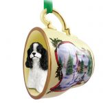 Cocker-Spaniel-Dog-Christmas-Holiday-Teacup-Ornament-Figurine-BlkWht-400619384459