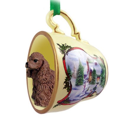 Cocker-Spaniel-Dog-Christmas-Holiday-Teacup-Ornament-Figurine-Brwn-400249384826