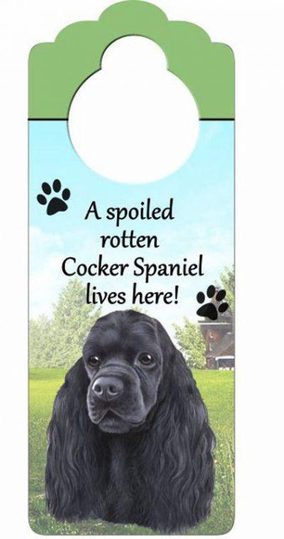 Cocker-Spaniel-Dog-Door-Knob-Handle-Hanger-Sign-Spoiled-Rotten-1025-x-4-Black-400511440115