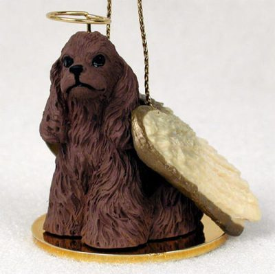 Cocker-Spaniel-Dog-Figurine-Angel-Statue-Hand-Painted-Brown-180637634140