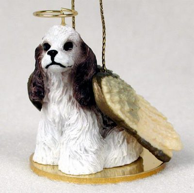 Cocker-Spaniel-Dog-Figurine-Angel-Statue-Ornament-BrwnWht-400250978291