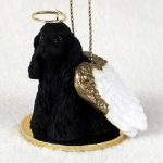 Cocker-Spaniel-Dog-Figurine-Ornament-Angel-Statue-Hand-Painted-Black-181337612523