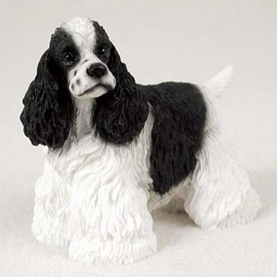 Cocker-Spaniel-Hand-Painted-Collectible-Dog-Figurine-Black-White-400282954078