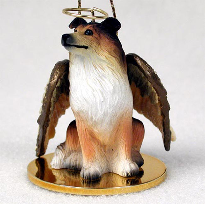 collie ornament angel figurine hand painted sable