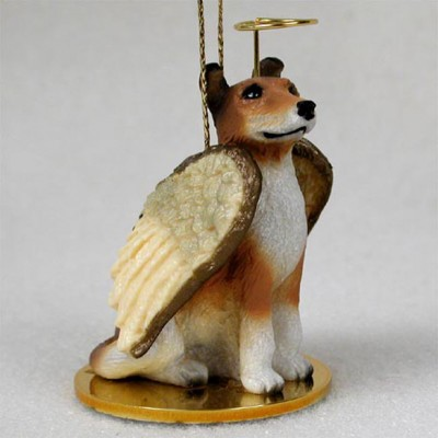 Collie-Dog-Figurine-Ornament-Angel-Statue-Hand-Painted-Smooth-Hair-Sable-400262734329