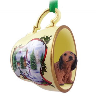 Dachshund-Dog-Christmas-Holiday-Teacup-Sleigh-Ornament-Figurine-Red-Longhair-180985890189