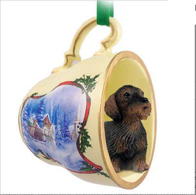 Dachshund-Dog-Christmas-Holiday-Teacup-Sleigh-Ornament-Figurine-Wirehair-180985890607
