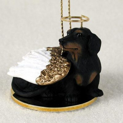 Dachshund Angel Statue Black