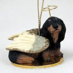 Dachshund-Dog-Figurine-Angel-Statue-Hand-Painted-Black-Longhair-400219971783