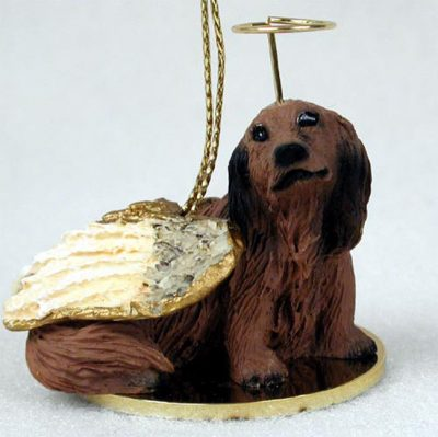 Dachshund-Dog-Figurine-Angel-Statue-Hand-Painted-Red-Longhair-400219971794
