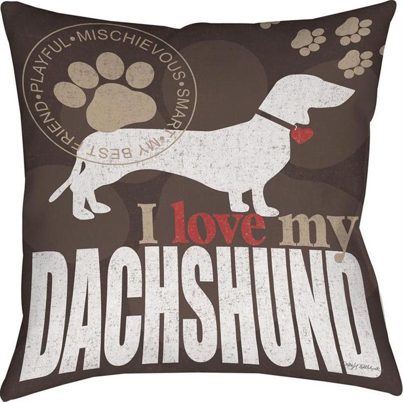 Dachshund Dog Throw Pillow 18x18