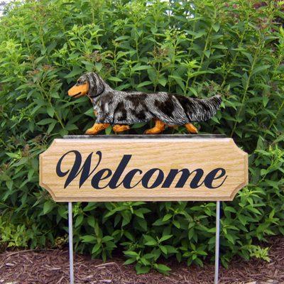 Dachshund-Long-Hair-Dog-Breed-Oak-Wood-Welcome-Outdoor-Yard-Sign-Blue-Dapple-400706791210