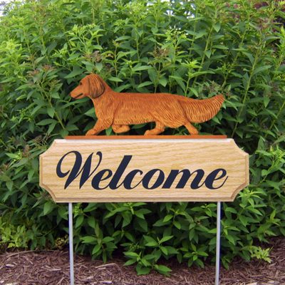 Dachshund-Long-Hair-Dog-Breed-Oak-Wood-Welcome-Outdoor-Yard-Sign-Red-400706791550