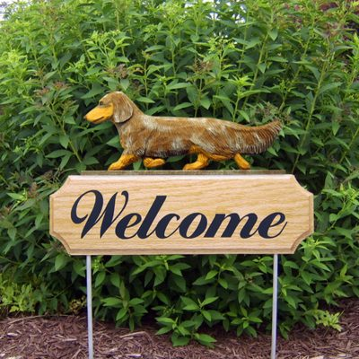 Dachshund-Long-Hair-Dog-Breed-Oak-Wood-Welcome-Outdoor-Yard-Sign-Red-Dapple-181404173037
