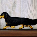 Dachshund-Long-Hair-Dog-Figurine-Sign-Plaque-Display-Wall-Decoration-Black-Tan-181430773817