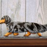 Dachshund-Long-Hair-Dog-Figurine-Sign-Plaque-Display-Wall-Decoration-Blue-Dapple-400721990421