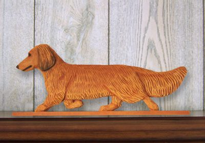 Dachshund-Long-Hair-Dog-Figurine-Sign-Plaque-Display-Wall-Decoration-Red-400721991047