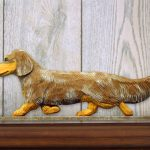 Dachshund-Long-Hair-Dog-Figurine-Sign-Plaque-Display-Wall-Decoration-Red-Dapple-400721991274