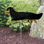 Dachshund-Long-Hair-Outdoor-Garden-Dog-Sign-Hand-Painted-Figure-Black-Tan-181369652244