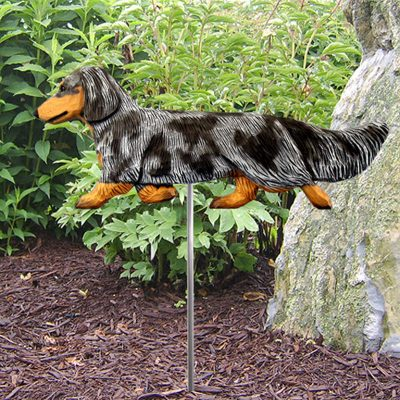 Dachshund-Long-Hair-Outdoor-Garden-Dog-Sign-Hand-Painted-Figure-Blue-Dapple-400688301704