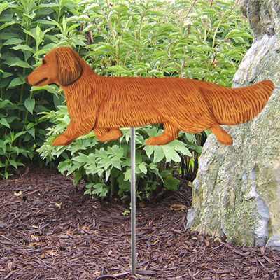 Dachshund-Long-Hair-Outdoor-Garden-Dog-Sign-Hand-Painted-Figure-Red-181369652815